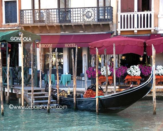 "Venice Photography - Venice Italy Marconi Hotel gondola canal boat flowers cafe ""Venice, Italy Marconi Hotel"""