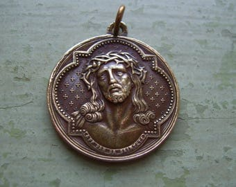 An Antique/Vintage French Religious Medallion/Medal In Bronze/Antique Brass - Jesus Catholic/Christian 1800's - Signed Ludovic Penin.