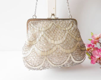 Silver Evening Bag, Silver Beaded Bag, Vintage Silver Bag, Silver Handbag, Silver Beaded Bag, Wedding Bridal, Beaded Handbag EB-0588