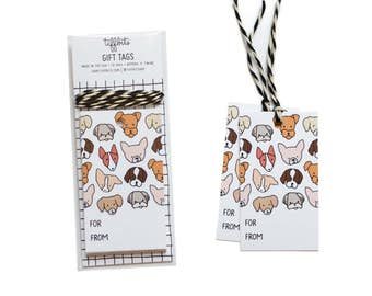 Cute Gift Tags, Dog Gift Tags, 10 Tags with Twine, Birthday Gift Tags, Dog Gift Wrap, Christmas Gift Tags, Dog Tags, Cute Dogs