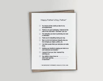 Father's Day Checklist - Funny Father's Day Card
