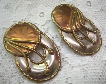 Vintage Modernist Tri Metal Post Back Earrings...Silver/Copper/Brass...Abstract/Brutalist Earrings....Statement Earrings