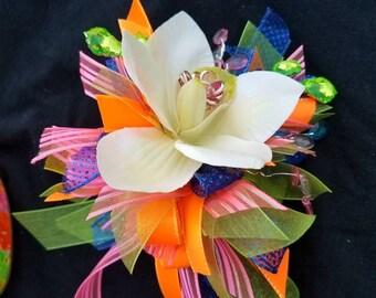 Orchid corsage. Multi colored.