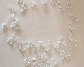 40 inch Bridal Wedding Pearl and Crystal hair vine,tiara,headdress,