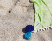 Beach Sarong - Lime Green, Pale Pink or Navy Swirl Beach Blanket, Towel, Beach dress, wrap around with White Pom Poms