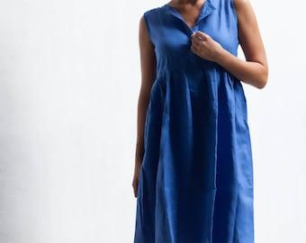 Capri Linen Dress, Ocean Blue Midi Dress with drop waist & Wooden Buttons