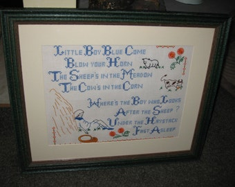"""LITTLE BOY BLUE Nursery Rhyme Cross Stitch Embroidery In Green Rustic Wood Frame 22 1/2"""" x 18 1/2"""" Matted In Off White Covered In Glass"""