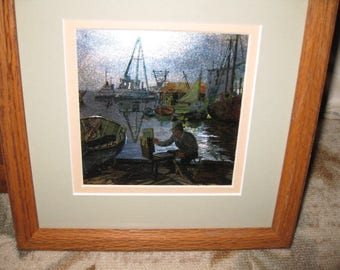 "PURDY'S BASIN FOIL Etching Lionel Barrymore In Oak Frame 9"" x 9"" Matted In Green With Light Pink Inner Border"