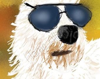 Tou Labradoodle Original Digital Painting, Fine Art Print,  Giclée Print  Pet Portrait