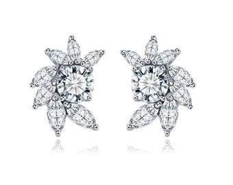 "Unique Delicate Crystal Flower earrings Prom Bridal Wedding Gauges tunnels Plugs 8g 6g 4g 2g 0g 00g 7/16"" 1/2"" 3mm 4mm 5mm 6mm 8mm 10mm 11mm"