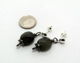 vintage labradorite earrings, sterling silver posts