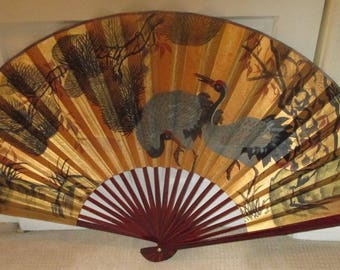 Huge 1970s Vintage JAPANESE Hand Painted Paper WALL FAN Asian Oriental Chinese