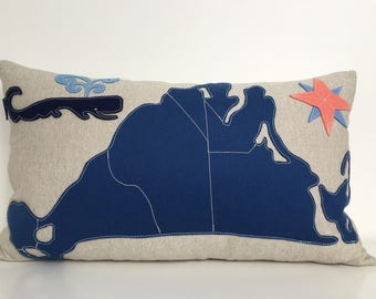 Martha's Vineyard Map Pillow with Spouting Whale in Navy and Blue Felt Applique on Oatmeal Linen