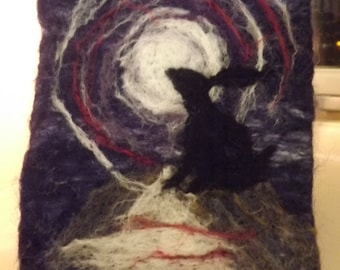 Moon Gazing Hare, Fibre Art, which has been needle felted using Merino and British Wools - Made to Order