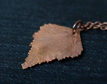 charm leaf necklace electroplated botanical jewelry copper electroformed real leaf pendant nature jewelry gift for her