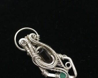 Wire wrapped mini pendant - topaz, smokey quartz, and emerald