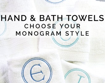 Monogrammed Towels, Hand & Bath Towel Set, Monogram Towel Set, Single Letter Monogram, Monogrammed Hand Towel, Monogrammed Bath Towel