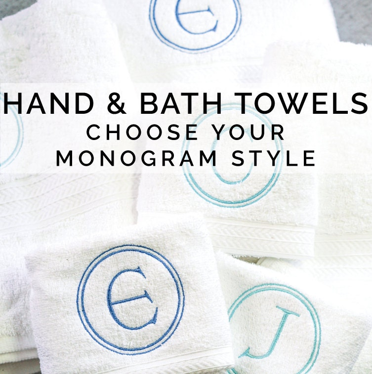 Monogram Towels For Bathroom: Monogrammed Towels Hand & Bath Towel Set Monogram Towel Set