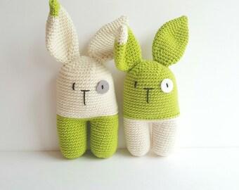 Baby handmade green rattle Easter rabbit