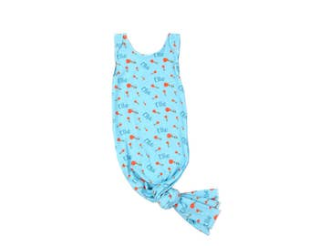 Wearable Blanket - Spring Poppy Blue - Knotted Sleeper for over the Pajamas