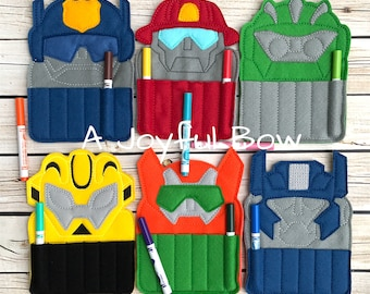 Transformer crayon holders, rescue bots, transformer party, transformer gifts, party favors
