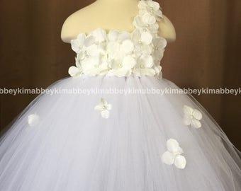 beautiful flower  girl tutu dress in white with white hydrangeas  flowers
