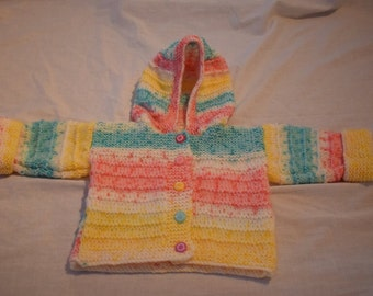 Hand Knitted Baby Hoodie Cardigan Jacket