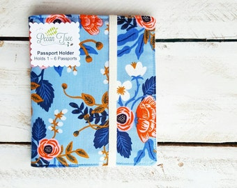 Family of 6 Passport Case Wallet, Passport Holder for up to 6 Six Passports, Birch in Periwinkle by Rifle Paper Co