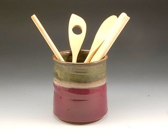Pottery Spoon Jar Handmade Cranberry Red and Brown Stoneware by Mark Hudak