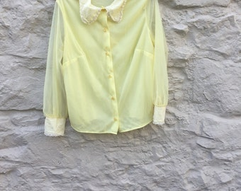 Yellow nylon blouse with lace collar cuffs St michael M&S 1960s
