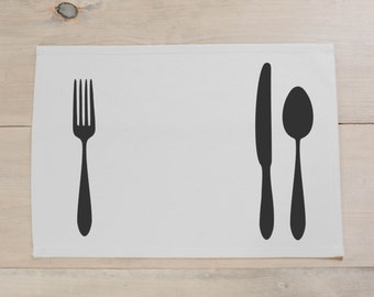 Utensils Placemat, home decor, present, housewarming gift, tablewear, table scene, place setting, set the table, place mat