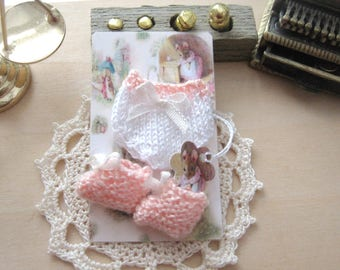 Dollhouse baby doll knitted miniature clothes pants and booties 1/12th scale miniature