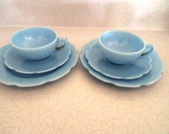Blue Delphite Childs Toy Set Jeannette Glass