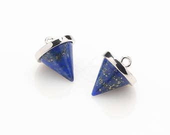 1086022 / Lapis Lazuli / Inverted Cone / Rhodium Plated Brass Framed Synthetic Stone Pendant  10mm x 12.7mm / 1.4g / 2pcs