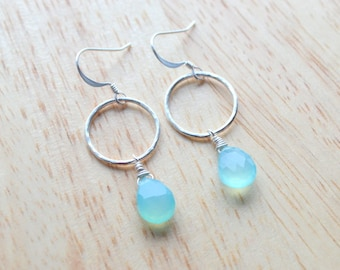 AQUA CHALCEDONY Earrings- Hand Wire Wrapped Earrings in Sterling Silver- March Birthstone
