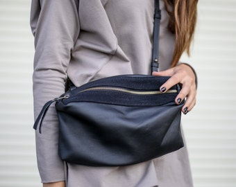 Small Black Leather Bag, Women Shoulder Bag, Crossbody Purse Bag, Women Clutch, HandBag