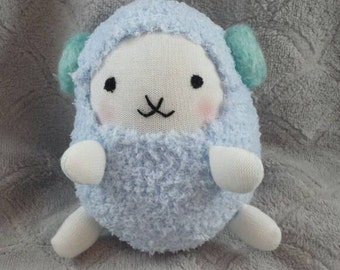DDLG toys, Ovis the Ram - Pastel Sheep Pastel Blue and White Cute Sock Handmade Stuffie Plushie