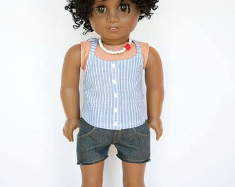 American girl doll sized endless summer halter top with buttons - blue with white stripes