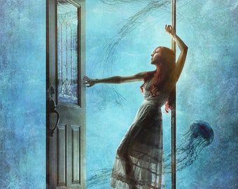 Communion--wall art, surreal art, jellyfish, ocean, sea, doorway, glass, door, frame, white dress, sundress, nautical, sea weed, sea life
