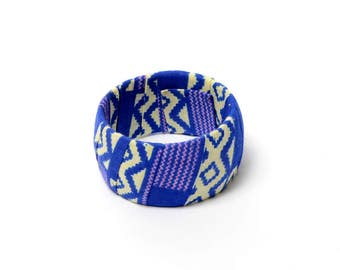 Chunky bangle, African Fabric Covered Bangle, kente bangle, Gift for her, handmade
