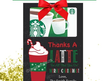 Thanks A Latte For All That You Do/Merry Christmas/ Printable & Editable Gift Card Holder/Starbucks/Dunkin Donuts
