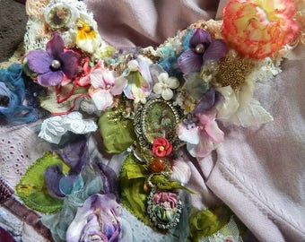 Extravagant necklace beaded and embellished, embellished with textiles, cameo and pearls , romantic, Victorian , secret garden