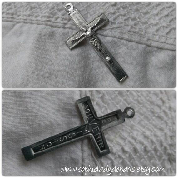 """50's French Mission Crucifix Aluminium Made """"Souvenir de Mission"""" #sophieladydeparis"""