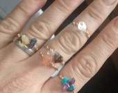 Custom crystal rings handmade with real crystals -you choose the crystals FREE SHIPPING Stackable, midi, gemstone, natural wire wrapped wrap