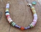 Mexican Fire Opal Bracelet | Mystic Sapphire Bracelet | Carnelian Bracelet | Gemstone Bracelet | Bohemian Bracelet