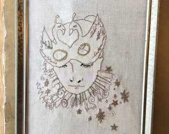 Framed Embroidery, Ready to Ship