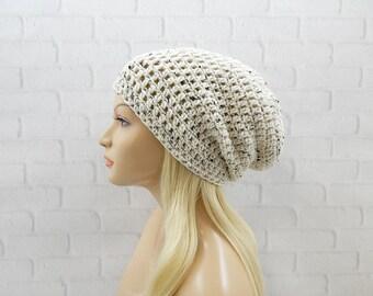 Oatmeal Slouchy Hat, Vegan Hat, Winter Hat, Crochet Beanie Hat, Slouch Hat, Beanie Cap, Skater Hat, Hipster Hat, Slouchy Beanie, Crochet Hat