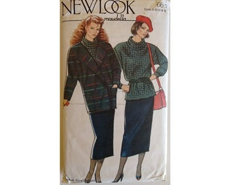 "Part UNCUT New Look #6612 Double Breasted Jacket Coat Roll Neck Jumper Tunic Top and Skirt Sewing Pattern 5 Sizes UK 10-18 Bust 32.5""-40"""