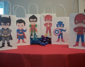 Superhero Party favor bag, Set of 6, Batman, Spiderman, Superman