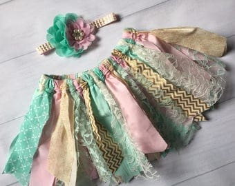 Pink, mint and gold tutu, scrap tutu, mermaid birthday tutu set, rag tutu, scrappy tutu, princess rag tutu, mermaid gold sequin, 1st party